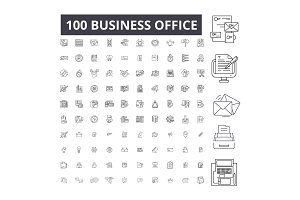 Business office editable line icons