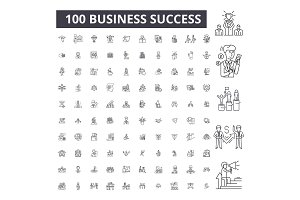 Business success editable line icons