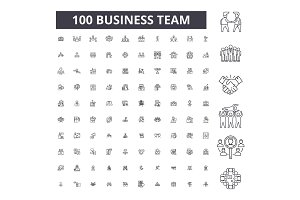 Business team editable line icons