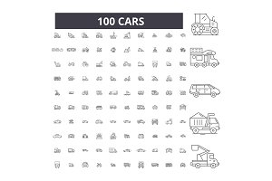 Cars editable line icons vector set