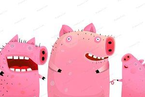 Three Funny Cute Pigs