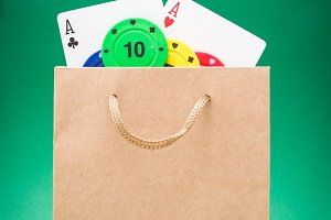 cardboard bag with poker supplies