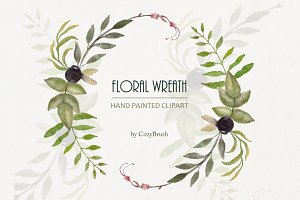 Hand painted floral Wreath PNG