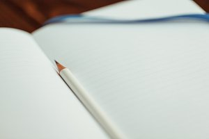 Lifestyle photo of an empty notebook