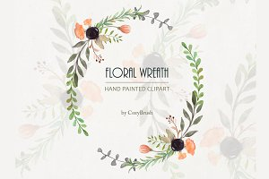 Watercolor PNG Wreath Clipart