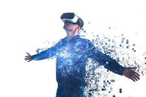 A man in virtual glasses. VR