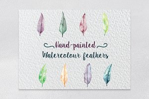 Hand-Painted Watercolour Feathers