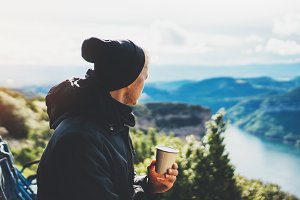 A cup of hot coffee in nature