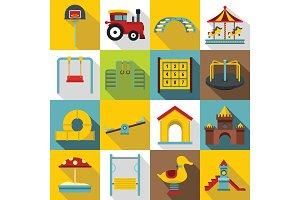 Playground icons set, flat style