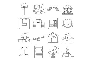 Playground icons set, outline style