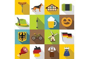 Germany icons set, flat style