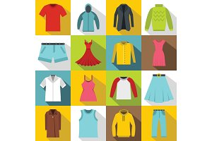 Different clothes icons set, flat