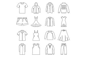 Different clothes icons set, outline