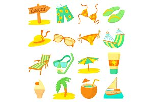 Sea rest icons set, cartoon style