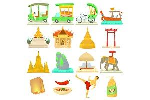 Thailand travel icons set, cartoon