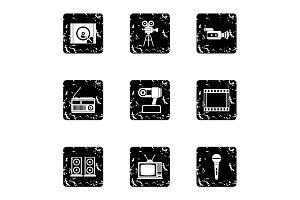 Electronic devices icons set, grunge