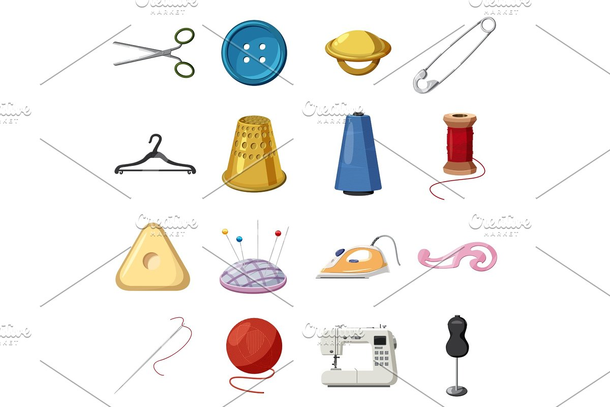 Sewing icons set, cartoon style