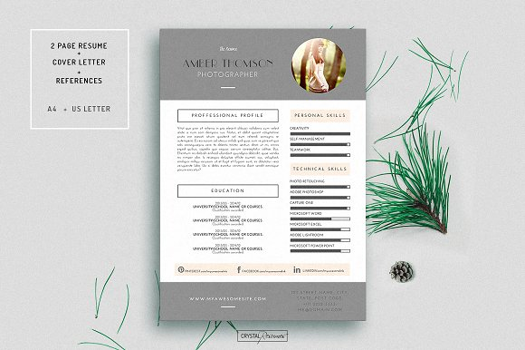 Resume CV Template for Word ~ Resume Templates ~ Creative Market