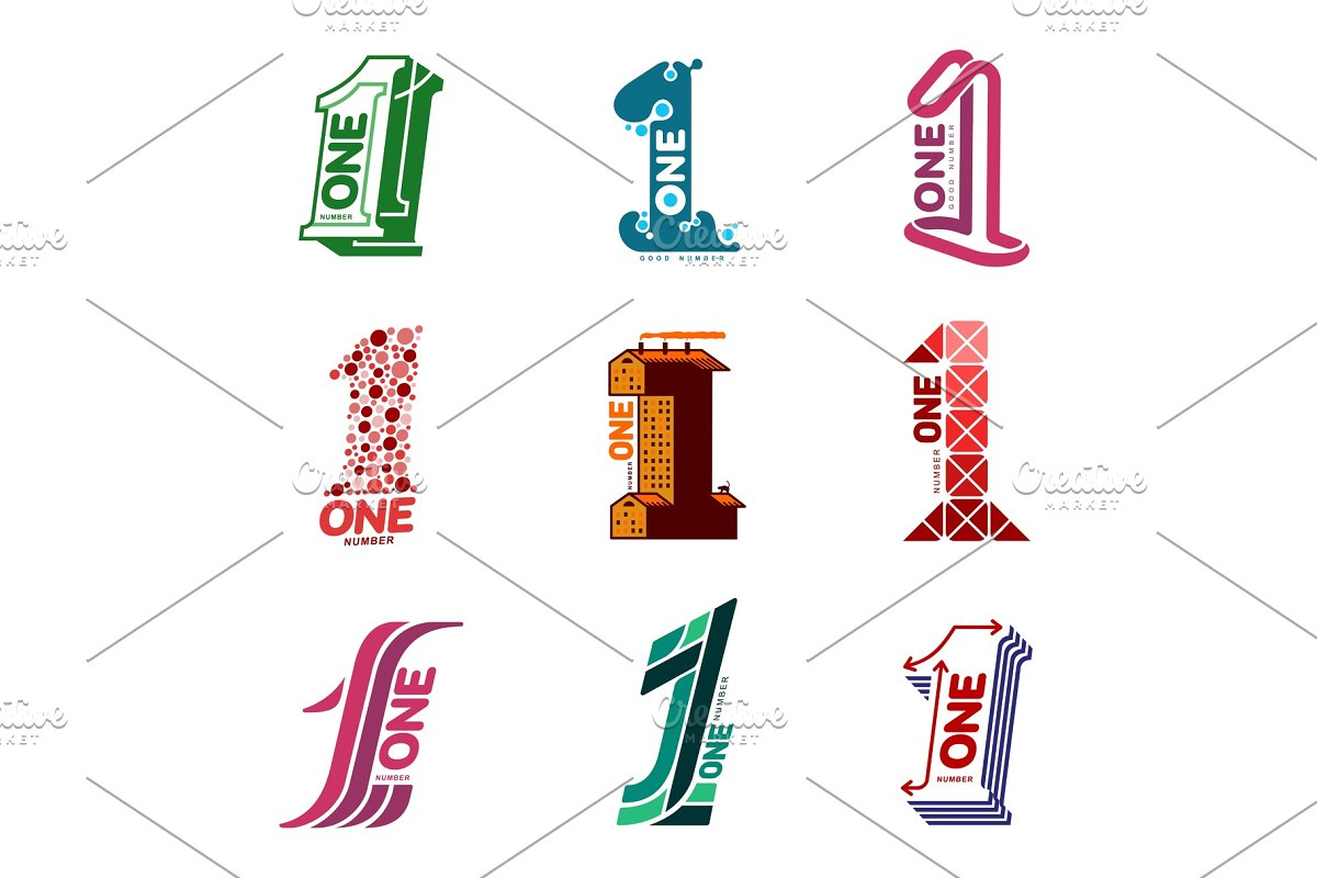 Two colors graphic number one logo
