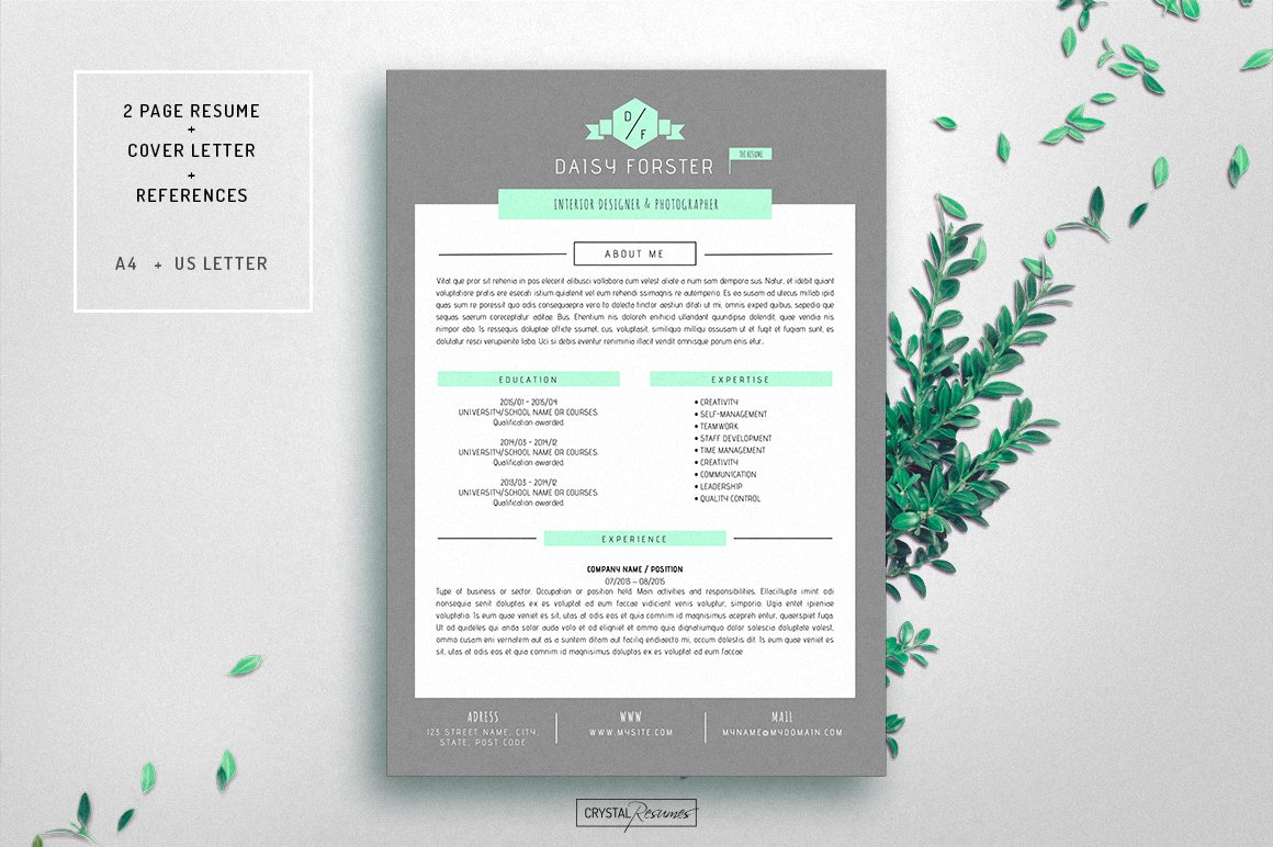 resume cv template for word by crystalresumes in templates