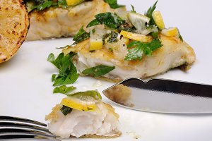 slice of baked fish pike perch