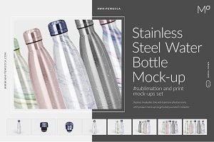 Stainless Steel Water Bottle Mock-up