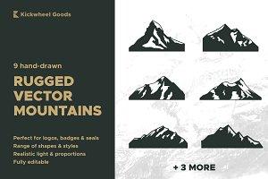9 hand drawn vector mountains logos