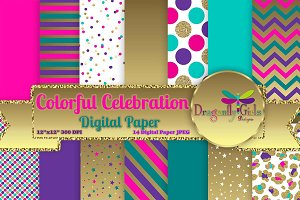 Colorful Celebration Digital Paper