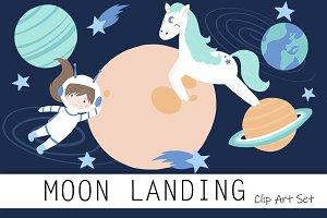 Moon Landing Clip Art Set