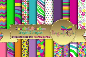 Candied Rainbow Digital Paper Pack