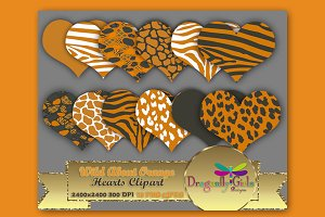 WILD About Orange Hearts Clip Art