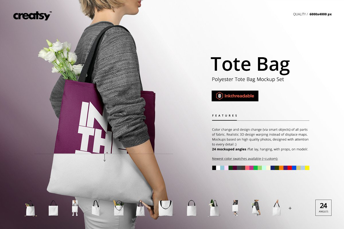 Polyester Tote Bag Mockup Set ~ Product Mockups ~ Creative Market d1e34726a