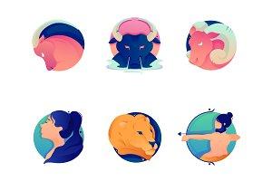 Set cartoon zodiac icons