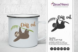 Chill Out - Sloth SVG Illustration
