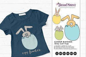 Cute Easter Bunnies SVG Illustration