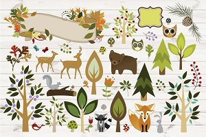 Woodland Animals Vector Clipart