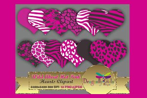 WILD About Pink Hearts Clip Art