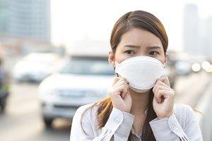 City air pollution concept. Close up