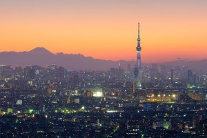 Aerial view of Tokyo city and Skytre