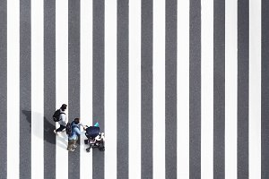 High Angle View of  family on road s