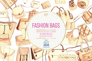Fashion Bags! 48 Watercolor PNGs