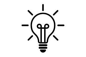 Light bulb icon vector, isolated on