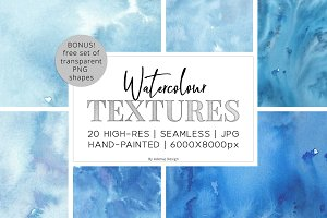 20 Huge Seamless Watercolor Textures