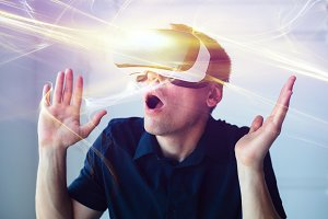 The man in virtual glasses. Vreality