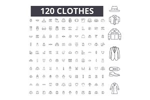 Clothes editable line icons vector