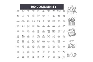 Community editable line icons vector