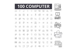 Computer editable line icons vector