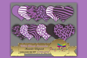 WILD About Lavender Hearts Clip Art