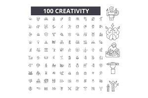 Creativity editable line icons