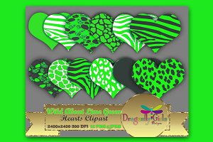 WILD About Lime Green Heart Clip Art